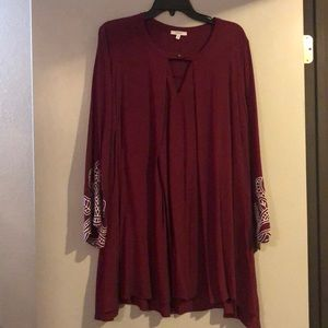 Maroon mid thigh length dress, brand new!